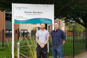 James Barraclough (LNT Construction) with Ed Homer (Artemes Waste Solutions), at the entrance of Gower Gardens
